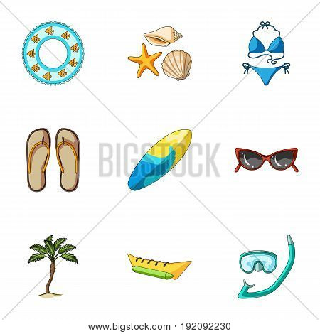 Beach, palm tree, ice cream.Summer vacation set collection icons in cartoon style vector symbol stock illustration .