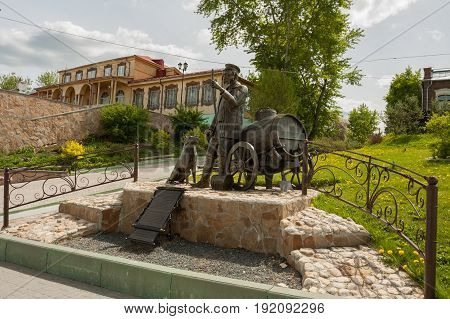 Kolomna Russia - May 22 2017: Monument To Water Carrier On Embankment Of River Moscow In Sunny Spring Day In Kolomna Moscow Region.