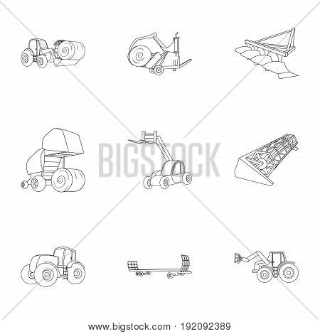 Set of pictures about agricultural machinery. Cars to robots to the ground.Agricultural Machinery icon in set collection on outline style vector symbol stock web illustration.
