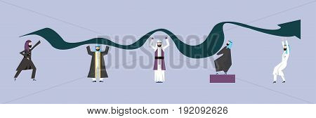Arab Business people in national dress are trying to raise the graph of growth of income of the company. The concept of teamwork. Vector illustration, isolated on white background.