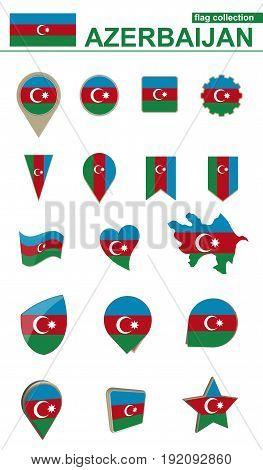 Azerbaijan Flag Collection. Big Set For Design.
