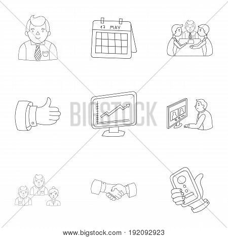 A set of pictures about the transaction, work, office. Office center, analytics.Business conference and ntgotiations icon in set collection on outline style vector symbol illustration.
