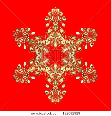 Snowflakes pattern. Vector snowflakes background. Golden snowflake. Flat design with abstract snowflakes isolated on red background.