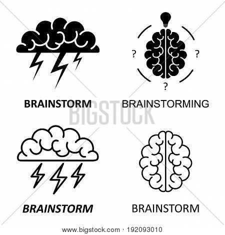 Set of brain, brainstorming, idea, creativity logo and icons. Vector template for your web design and print