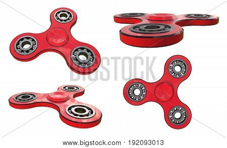 Set fidget spinner stress relieving toy red on white backgrond. 3d illustration