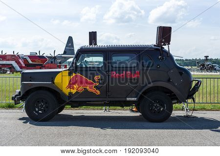 BERLIN GERMANY - JUNE 03 2016: Red Bull Hot Truck on the airfield. Exhibition ILA Berlin Air Show 2016