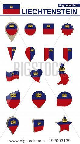 Liechtenstein Flag Collection. Big Set For Design.