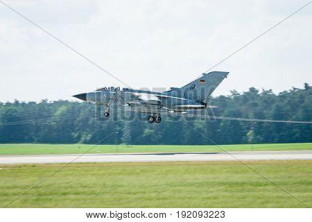 BERLIN GERMANY - JUNE 03 2016: Landing multirole aircraft Panavia Tornado. Exhibition ILA Berlin Air Show 2016