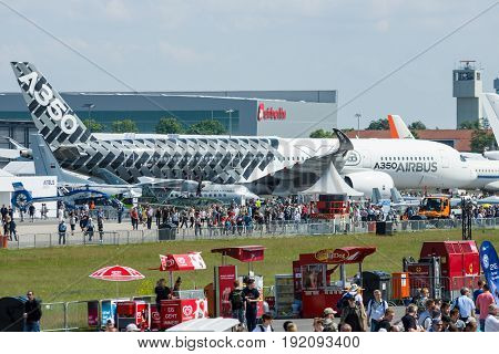 BERLIN GERMANY - JUNE 03 2016: The newest Airbus A350 XWB at the airfield. Exhibition ILA Berlin Air Show 2016