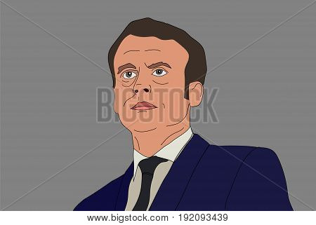 June, 2017. French President Emmanuel Macron vector portrait on a gray background. EPS vector illustration. Editorial use only