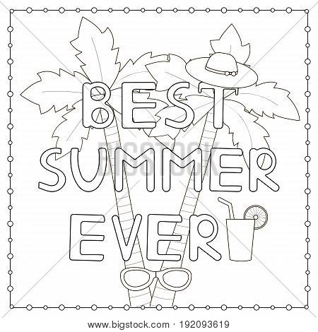 Coloring page with hand drawn text