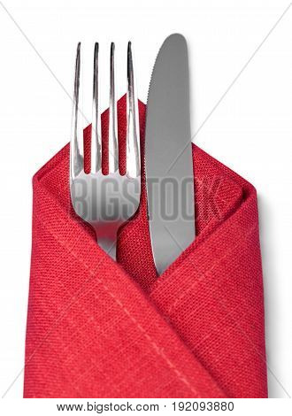 Red isolated spoon cloth fork table green