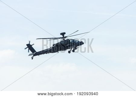 BERLIN GERMANY - JUNE 03 2016: Attack helicopter Airbus Helicopters Tiger. German Army. Exhibition ILA Berlin Air Show 2016