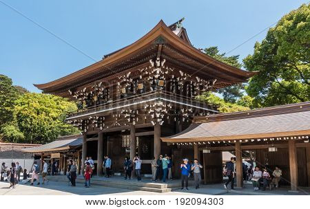 Tokyo Japan - May 5 2017: Tourist are taking picture of Meiji Shrine.