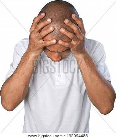 Man emotion stress emotional white background isolated