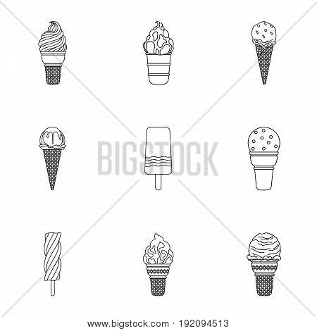 Summer sweets ice cream. Ice, fruit, milk. Ice creamicon in set collection on outline style vector symbol stock web illustration.