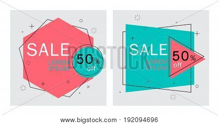 flat geometric .vector banners.Trendy . abstract background