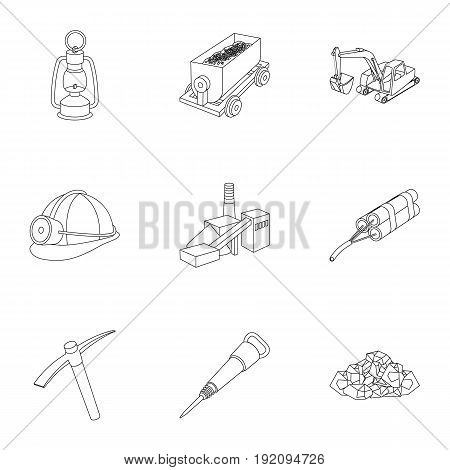 Set of icons about the mine. The extraction of coal, minerals, protection of the miners. Processing of coal.Mine industral icon in set collection on outline style vector symbol stock web illustration.