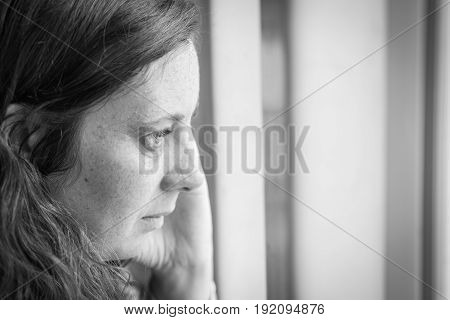 woman suffering from  fear, loneliness and sadness