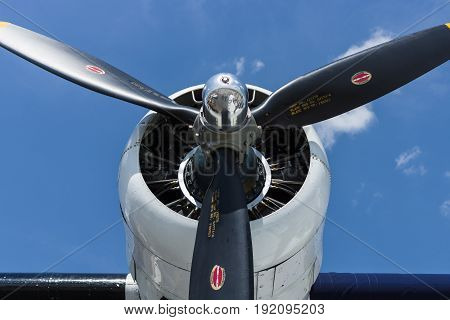 BERLIN GERMANY - JUNE 02 2016: Radial engine of maritime patrol and search-and-rescue seaplane Consolidated PBY Catalina (PBY-5A). Exhibition ILA Berlin Air Show 2016