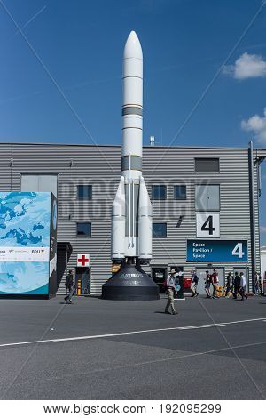 BERLIN GERMANY - JUNE 03 2016: Model of launch vehicle Ariane 6 (A64). Space Pavilion. Exhibition ILA Berlin Air Show 2016