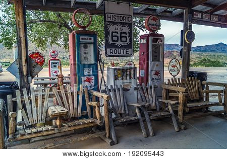 Arizona,USA ,October 25,2015: Views of the route 66 decorations in the little village in Arizona, America spirit concept, toning