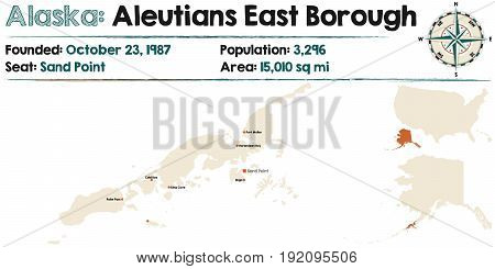 Large and detailed map of Aleutians East Borough in Alaska