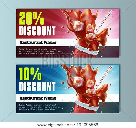 Drinks Discount Voucher Template - well-organized and fully editable vector file EPS10