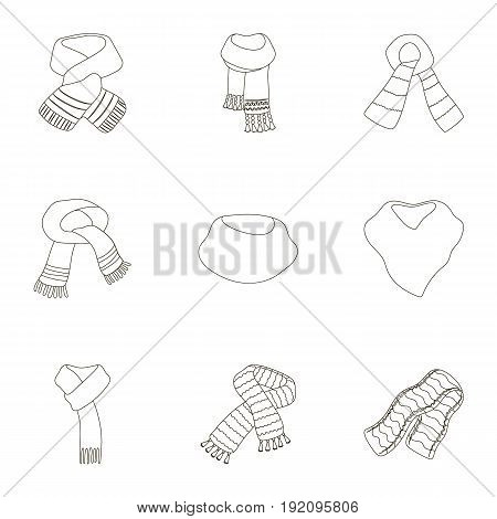 Beautiful woolen, silk-colored warm scarves of shawls. scarves and shawles icon in set collection on outline style vector symbol stock web illustration.