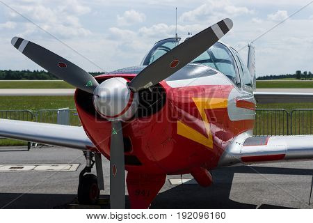 BERLIN GERMANY - JUNE 03 2016: Utility liaison or training monoplane Piaggio P.149D. German Air Force. Exhibition ILA Berlin Air Show 2016