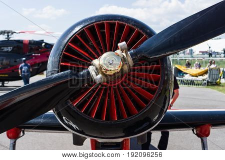 BERLIN GERMANY - JUNE 03 2016: The radial engine Vedeneyev M-14P of trainer/aerobatic aircraft Yakovlev Yak-50. Exhibition ILA Berlin Air Show 2016