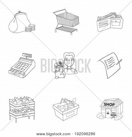 Supermarket, shopping in the store. A selection of pictures on the topic of shopping.Supermarket icon in set collection on outline style vector symbol stock web illustration.