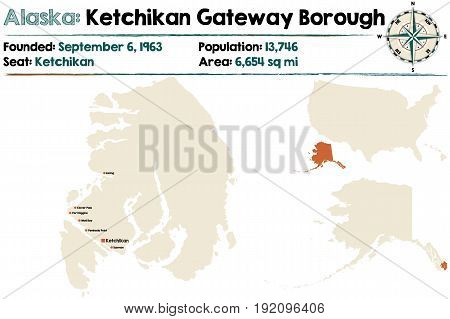 Large and detailed map of Ketchikan Gateway Borough in Alaska