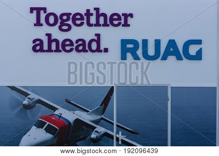 BERLIN GERMANY - JUNE 03 2016: A stand of a Swiss technology company RUAG. Exhibition ILA Berlin Air Show 2016