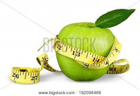 Green apple measure tape sport numbers white