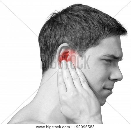 Man pain ear white background close-up isolated