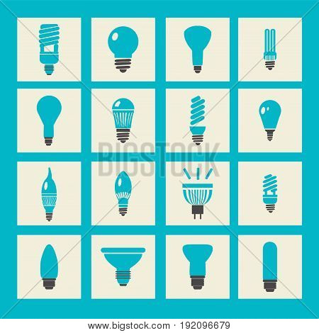 vector set light bulbs led lamps types fluorescent filament and halogen