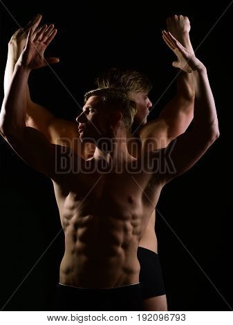 Men With Muscular Torso And Strong Male Abs, Fitness Model