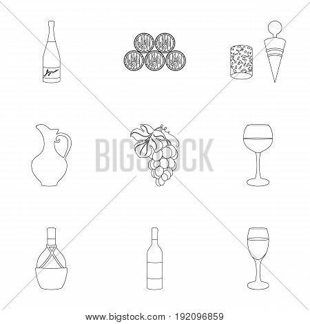 Wine products. Growing grapes, wine.Vine production icon in set collection on outline style vector symbol stock web illustration.