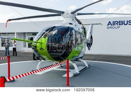 BERLIN GERMANY - JUNE 03 2016: Helicopter Bluecopter Demonstrator by Airbus (prototype). Exhibition ILA Berlin Air Show 2016