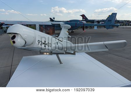 BERLIN GERMANY - JUNE 03 2016: Rheinmetall KZO - an unmanned aerial vehicle (UAV) with stealth characteristics manufactured by Airbus Defence and Space. Exhibition ILA Berlin Air Show 2016