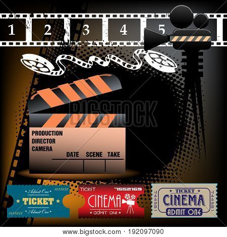 Colorful illustration with film reel, clapboard and cinema tickets