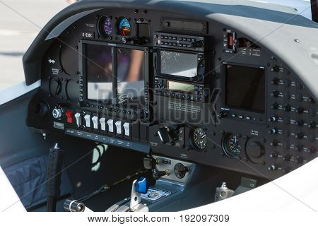 BERLIN GERMANY - JUNE 03 2016: Electronic flight instrument system of two seat light aircraft AQUILA AT01-100. Exhibition ILA Berlin Air Show 2016
