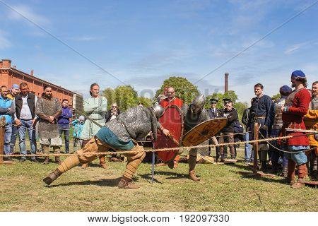 St. Petersburg Russia - 28 May, Knight tournament on swords, 28 May, 2017. Knight tournament at the festival of ancient Vikings in St. Petersburg.