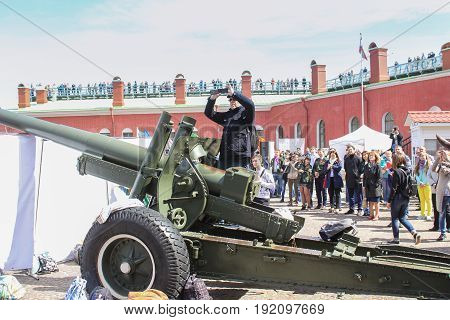 St. Petersburg Russia - 28 May, People waiting for a traditional midday gun shot, 28 May, 2017. Famous sightseeing places of St. Petersburg for tourists.