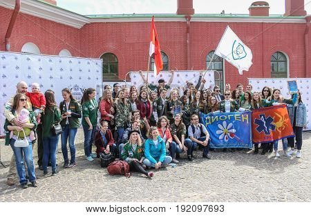 St. Petersburg Russia - 28 May, A group of students with flags posing for a photograph, 28 May, 2017. Famous sightseeing places of St. Petersburg for tourists.