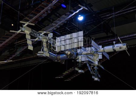 BERLIN GERMANY - JUNE 03 2016: Model of the International Space Station (ISS). Exhibition ILA Berlin Air Show 2016