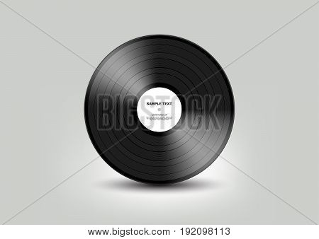 Black vinyl record isolated on white background, Vector