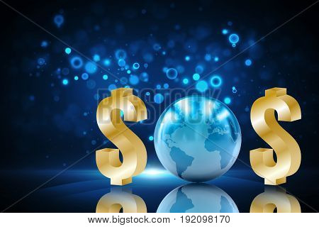 SOS Concept or Business Crisis Concept : Dollar signs and blue globe set to words message
