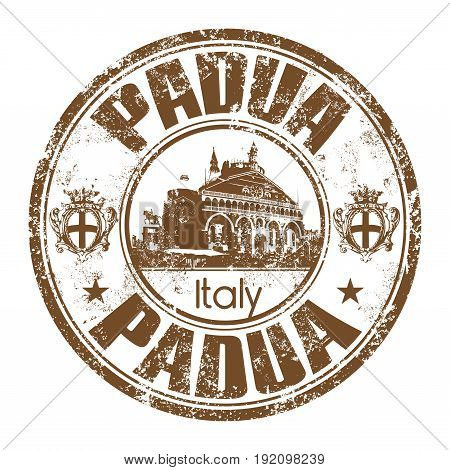 Brown grunge rubber stamp with the name of Padua city from Italy